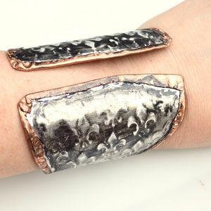 Fleur De Lis Silver Wide Copper Cuff Bracelet Boho